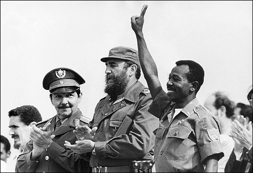 Fidel Castro (center) and his brother Raul Castro (left) with Ethiopian President Lieutenant Colonel Mengistu Haile Mariam (right) during an official visit in La Havana, Cuba on April 25, 1975.