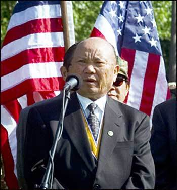 Hmong general Vang Pao, who was arrested last week for allegedly plotting to overthrow the government of Laos, speaking in 2000 after laying a wreath at the Vietnam Memorial in Washington.