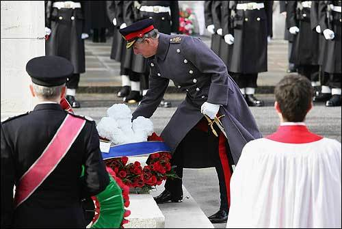 Prince Charles laid a wreath during Remembrance Sunday ceremonies in London. Queen Elizabeth led the ceremony to remember the sacrifices made by Britain's fallen soldiers. Two minutes of silence were observed at 11 a.m.