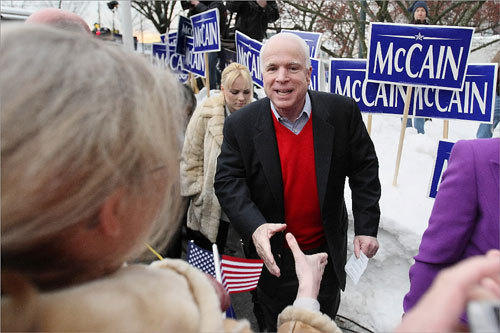 McCain greeted supporters on the grounds of City Hall Plaza in Nashua.