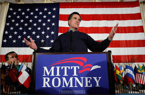 Romney asked voters for support as he attempts to win a close race with Senator John McCain in Tuesday's New Hampshire primary election.