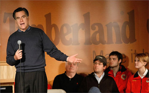 Mitt Romney spoke during a campaign event at the Timberland corporate headquarters in Stratham, N.H.