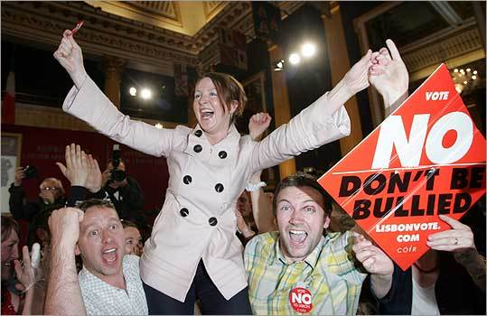 Supporters of the 'No Vote' celebrated yesterday at the Royal Dublin Society in Dublin after the Lisbon Treaty was rejected.