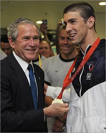 400 individual medley President George W. Bush congratulated US swimming superstar Michael Phelps on his gold medal win in the men's 400-meter individual medley at the 2008 Beijing Olympic Games on August 10. Phelps shattered his own global mark in the medley by nearly a second and a half with a time of 4:03.84