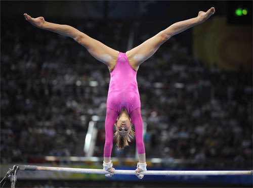 Nastia Liukin of the United States competed on her best event, the uneven bars, during the women's individual all-around final.