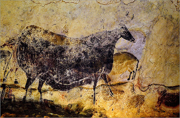 A prehistoric painting of a bull at Lascaux in southwestern France.