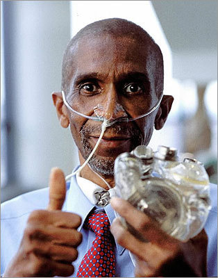 Mass. company planned to implant 15 hearts Abiomed Inc. of Danvers, the company that developed a self-contained artificial heart, aimed to have 15 implanted by the middle of 2002. Robert Tools of Franklin became the first recipient of a plastic and titanium AbioCor heart July 2, 2001, in Louisville, Ky. Story: Mass. company hopes to implant 15 hearts