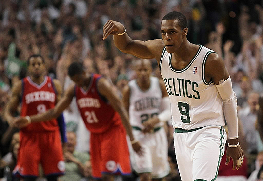 May 26, 2012: Celtics beat Sixers 85-75 in Boston Rajon Rondo had 18 points, 10 assists, and 10 rebounds to lead the Boston Celtics over the Philadelphia 76ers in Game 7 of the series to advance to the Eastern Conference finals against the LeBron James and the Miami Heat. Rondo scored nine straight points for the Celtics, helping to turn a three-point edge into a double-digit lead after Paul Pierce fouled out in the fourth quarter. Kevin Garnett had 18 points and 13 rebounds, and Ray Allen hit a pair of fourth-quarter 3-pointers after missing his first five attempts. Pierce had 15 points and nine rebounds before fouling out.