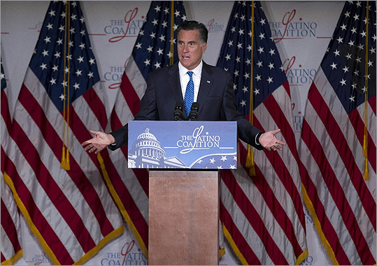 Mitt Romney addressed the Latino Coalition at the US Chamber of Commerce in Washington on May 23.