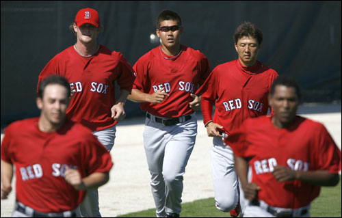 Red Sox pitchers (from left) David Pauley, Kyle Snyder, Daisuke Matsuzaka, Hideki Okajima and Devern Hansack took part in a conditioning run Wednesday.