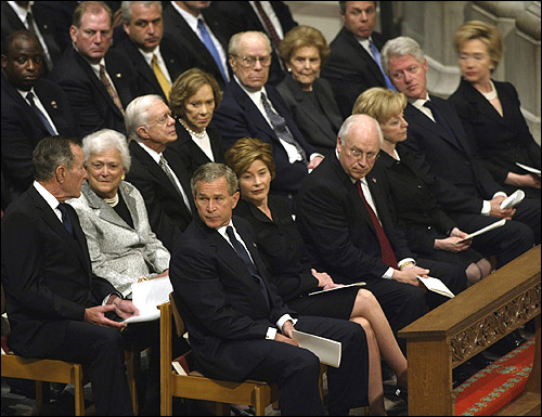 The living presidents and their wives were seated at the front of the cathedral for the memorial service.
