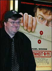 Michael Moore, who won a prize at Cannes for his new film, admits having doubts about his powers of persuasion, saying, 'It's just a movie.'