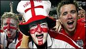 England fans celebrate in Lisbon, June 21.