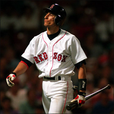 Nomar walks off after striking out during his first game at Fenway Park in September 1996. The Sox went on to lose the game 6-0 to the Brewers.