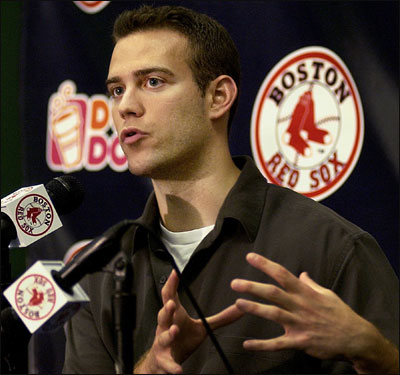 On trading Nomar: ''It was with mixed emotions that we let Nomar go. He's been one of the greatest Red Sox of all time.'' On the controversy: 'It's unfortunate. I was reading the papers on the plane today on the way down [to St. Petersburg, Fla.]. The thing that kept popping into my mind is it's best for everyone to turn the page.'