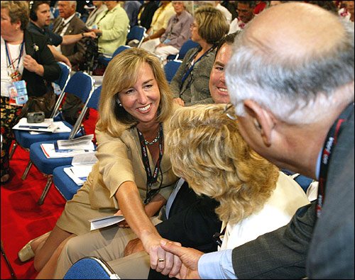 Massachusetts Lieutenant Governor Kerry Healey greeted a well-wisher on the convention floor.
