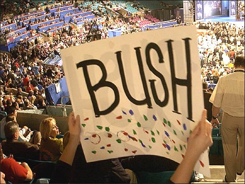 Supporters and protesters alike have employed similar means of getting their messages across. Creative, caustic, cardboard -- signs have without a doubt colored the convention activity in New York City.