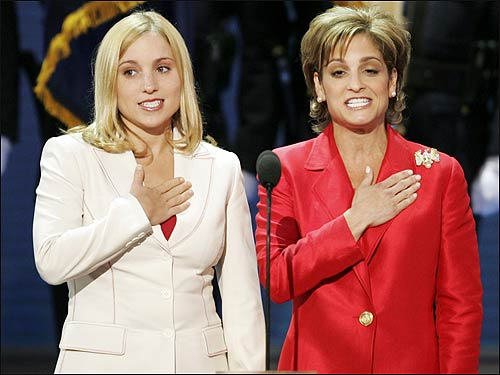 Olympic gymnasts Kerri Strug (L) and Mary Lou Retton started the night by reciting the Pledge of Allegiance.