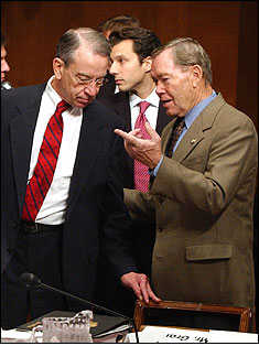 Senator Charles Grassley (left) of Iowa wanted $50 million for a simulated rain forest inserted into the energy bill. It was rejected, but later appeared in an omnibus spending bill.