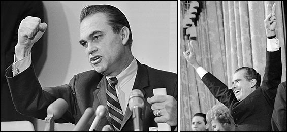 In the 1968 presidential race, former Alabama Governor George Wallace (left) ran a third-party campaign that some feared would deny an Electoral College majority to either Richard Nixon (right) or Hubert Humphrey.