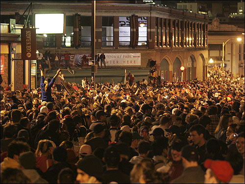 Fans turn Kenmore Square into one giant victory party.