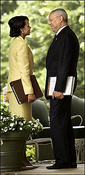 Secretary of State Colin L. Powell and National Security Advisor Condoleezza Rice, outside the Oval Office in May.