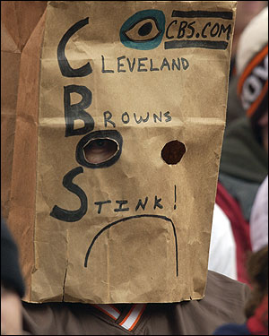 A Cleveland fan shows his feelings, but not his face, as the Browns drop to 3-9 this season.