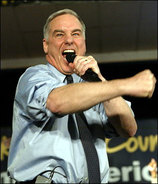The divide between 'red' and 'blue' states grew wider during a heated presidential campaign that pitted President George W. Bush against US Sen. John F. Kerry, Democrat of Massachuestts. Former Vermont Gov. Howard Dean may have scuttled his chances for the Democratic nomination with this wild yell while addressing supporters during his caucus night party in Iowa on Jan. 19.