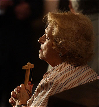 A Catholic woman prayed during a Mass for the pope at Buenos Aires Cathedral.