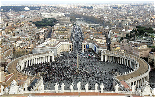 As Pope John Paul II clung to life in deteriorating condition, thousands around the world flocked to churches and shrines to pray for the ailing pontiff. Here, the faithful gathered for prayers in St. Peter's Square at the Vatican.