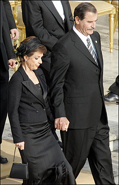 Mexican President Vicente Fox and his wife Marta attended the funeral.