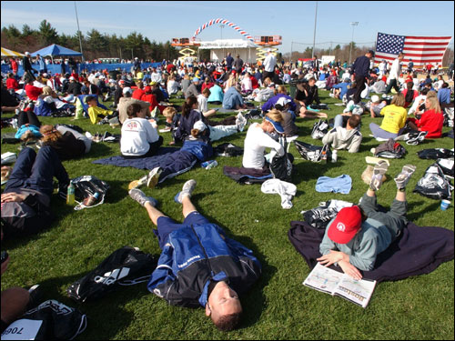 Runners rested up in Hopkinton Athletes' Village before the start of the 109th Boston Marathon.