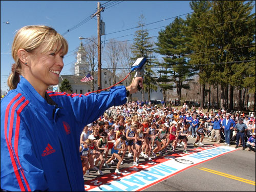 Uta Pippig, who won three straight Boston Marathons from 1994 through 1996, fired the starting gun to signal the start of the women's race.