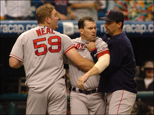 Trot Nixon led the charge out of the dugout, and had to be held back by Blaine Neal and John Halama. Nixon was ejected and later suspended for two games.