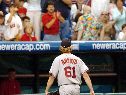The fireworks continued in the bottom of the seventh; after beaning Chris Singleton, Bronson Arroyo (pictured) and Terry Francona were ejected. Arroyo was suspended for six games and Francona for three.