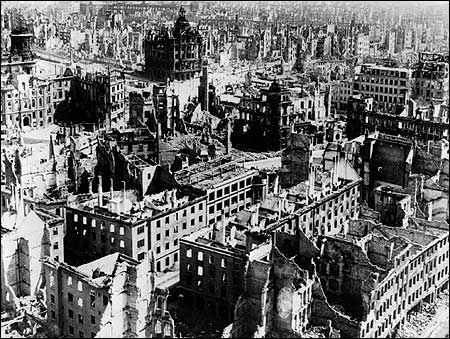 The ruins of Dresden, bombed by Allied forces in February 1945.