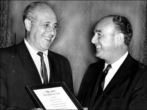 Auerbach received the Coach of the Year Award in 1965, the year of the Celtics' seventh consecutive NBA title and eighth in nine years. Although 1965 would be the only year that Auerbach won Coach of the Year, the award is now named after him.