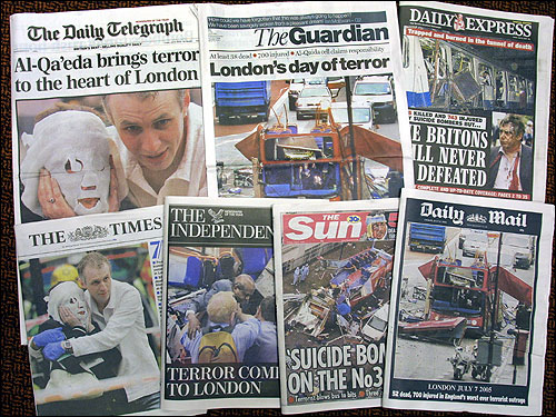 Images of the front pages of London's national newspapers today.