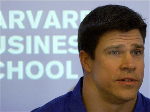 Johnson spoke during a news conference at Harvard Business School in Boston on Thursday, April 7, 2005.