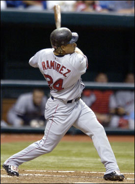 Sept. 9, 2002 After hitting a home run earlier in the game (pictured), Ramirez does not leave batter's box after hitting a ground ball against Tampa Bay.