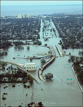 The US Coast Guard captured this scene of water-flooded roadways in New Orleans as they conducted initial Hurricane Katrina damage assessment overflights.