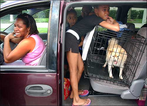 Louisiana resident Nureka Jacobs and her five children were turned away from shelter at the Houston Astrodome on Wednesday because it was for 'bused-in' refugees only.