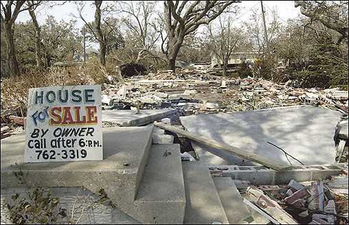 A sign was posted on the stairs of a home in Pascagoula, Miss., that was destroyed by Katrina.