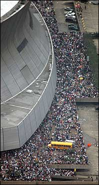 Crowds of people waited to be evacuated from the Louisiana Superdome Thursday.