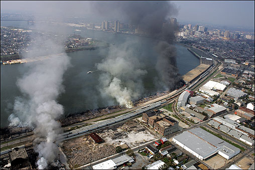 An industrial fire continued to burn Saturday near downtown New Orleans.