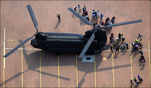 Helicopters on Saturday removed the sickest people from the New Orleans Convention Center.