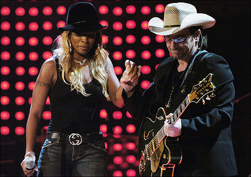 Friday night, Black Entertainment Television hosted its relief fund-raiser ''S.O.S: Saving OurSelves,' while the major networks and various cable channels aired the hour-long ''Shelter from the Storm: A Concert for the Gulf Coast.' Both were presented commercial-free. Bono (right) and Mary J. Blige performed U2's 'One' during the 'Shelter' concert.