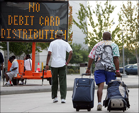 A sign posted at the Reliant Center in Houston warned Hurricane Katrina survivors that no more debit cards would be issued by relief agencies.