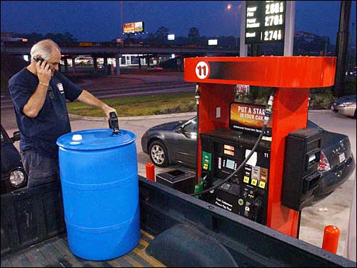 filling 55-gallon drum with gasoline