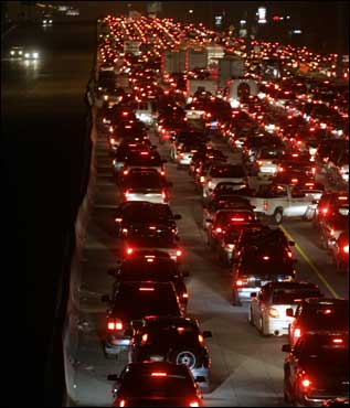 Traffic was snarled on Interstate 45 Thursday near Woodlands, Texas. The 40-mile trip from downtown Houston to this point had turned into a seven-hour trip.